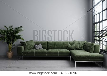 Stylish Interior Of Bright Living Room With Green Sofa And Plant. Living Room Interior Mockup. Moder