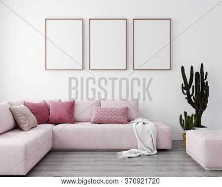 Stylish Interior Of Bright Living Room With Pink Sofa And Cactus. Living Room Interior Mockup. Moder