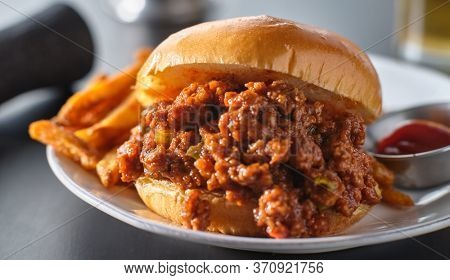 sloppy joe sandwich on plate with french fries and ketchup