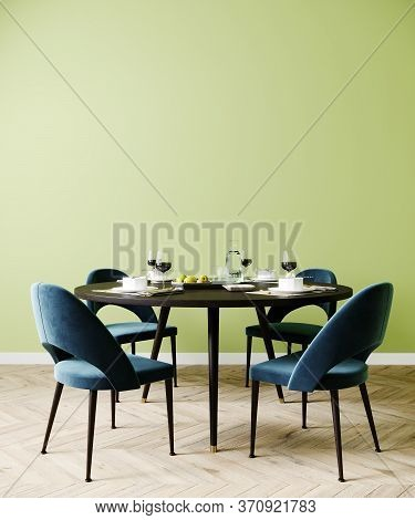 Poster Mock Up In Dining Room, Stylish Interior With Blue Chair And Green Wall, 3D Rendering