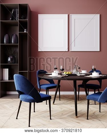 Home Interior With Poster Mockup, Wall Mock Up In Dining Room Interior, 3D Rendering