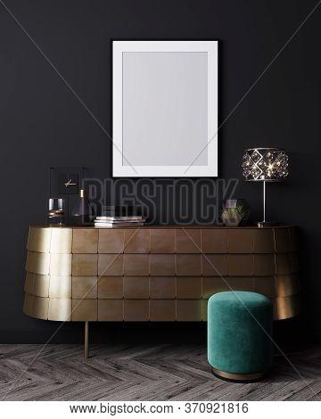 Mockup Poster Frame In Black Interior Background, Luxury Modern Dark Living Room Interior, 3D Render