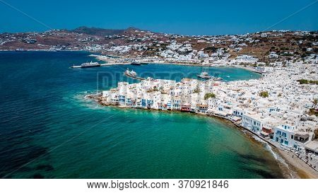 Mykonos Greece, Beautifull View Over Mykonos From The Sky With Drone At The Whitewashed Village