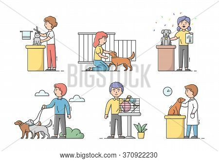 Animal Care Concept. Male And Female Characters Take Care And Look After Domestic Animals. People Wa