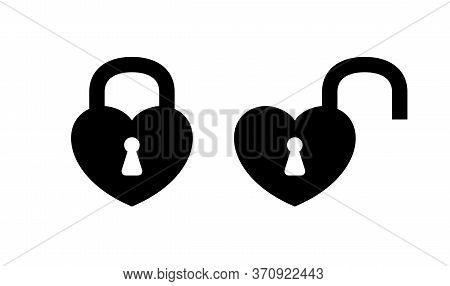 Heart Shaped Padlock In Locked And Unlocked Isolated On White, Black Padlock Heart Shape, Heart Shap