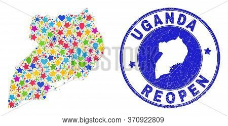 Celebrating Uganda Map Collage And Reopening Scratched Stamp. Vector Collage Uganda Map Is Done Of R