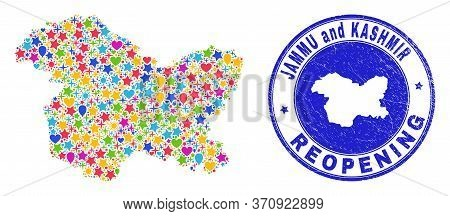 Celebrating Jammu And Kashmir State Map Collage And Reopening Grunge Stamp. Vector Collage Jammu And