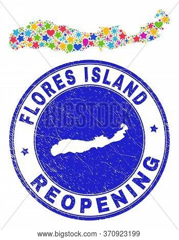 Celebrating Flores Island Of Indonesia Map Mosaic And Reopening Grunge Stamp. Vector Mosaic Flores I