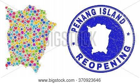 Celebrating Penang Island Map Mosaic And Reopening Scratched Stamp Seal. Vector Mosaic Penang Island