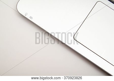 Steel Gray Laptop Touchpad On A White Background