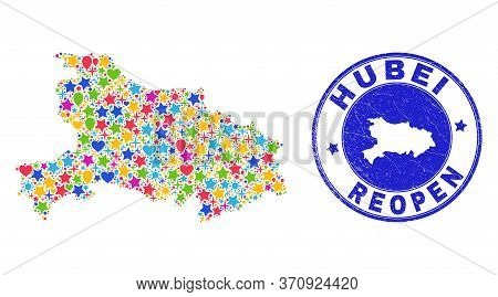 Celebrating Hubei Province Map Collage And Reopening Rubber Stamp Seal. Vector Collage Hubei Provinc