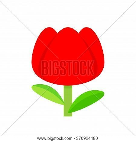 Tulip Flower Red Simple Isolated On White, Tulips Red Cartoon For Clip Art, Illustration Tulip Flowe