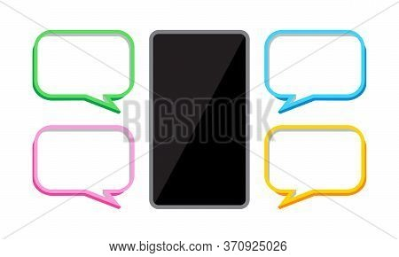 Smartphone And Speech Bubble, Chat Concept, Dialog Box For Copy Space Message, Smartphone With Bubbl