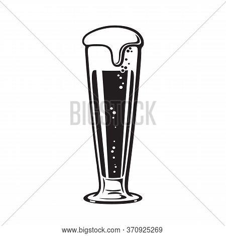 Pilsner Beer Glass. Hand Drawn Vector Illustration On White Background.