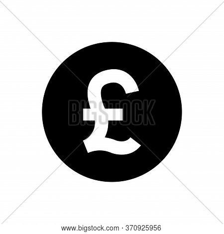 Pound Currency Coin Black For Icon Isolated On White, Pound Money For App Symbol, Simple Flat Pound