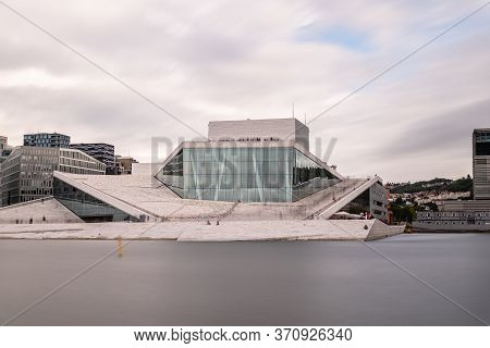 Oslo, Norway - August 11, 2019: Exterior View Of Opera House In Oslo. New Modern Building Designed B