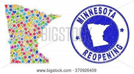 Celebrating Minnesota State Map Mosaic And Reopening Rubber Watermark. Vector Mosaic Minnesota State