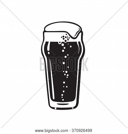 Nonic Pint Beer Glass. Hand Drawn Vector Illustration On White Background.