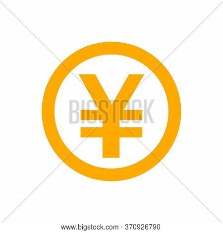 Yen Currency Coin Orange For Icon Isolated On White, Yen Money For App Symbol, Simple Flat Yen Money