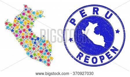 Celebrating Peru Map Mosaic And Reopening Dirty Stamp Seal. Vector Collage Peru Map Is Done With Ran