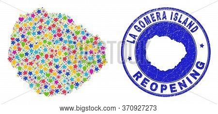 Celebrating La Gomera Island Map Collage And Reopening Scratched Stamp. Vector Collage La Gomera Isl