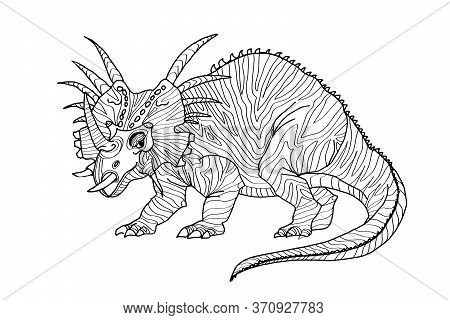Triceratops. A Series Of Prehistoric Dinosaurs. Fossil Animals In Contour Style
