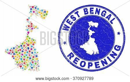 Celebrating West Bengal State Map Collage And Reopening Rubber Stamp Seal. Vector Collage West Benga