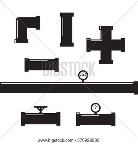 Pipe Fittings Vector Icons Set. Tube Industry, Construction Pipeline, Drain System. Pipeline Water V