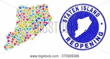 Celebrating Staten Island Map Mosaic And Reopening Rubber Stamp Seal. Vector Mosaic Staten Island Ma