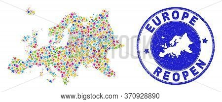 Celebrating Europe Map Mosaic And Reopening Corroded Watermark. Vector Mosaic Europe Map Is Made Wit