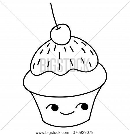 A Children Coloring Book,page A Kawaii Cupcake Image For Relaxing.line Art Style Illustration For Pr
