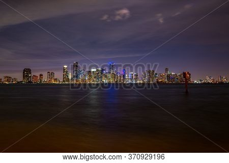 Miami, Florida, Usa Skyline On Biscayne Bay. Night In Miami. Skyscrapers Against The Night Sky In Fl
