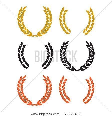 Round Laurel And Oak Heraldry Wreaths. Award, Achievement, Nobility Vector Design Elements Isolated