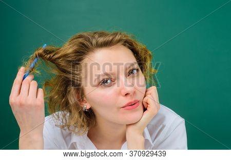 Back To School. Flirtation. Education. School. Job. Teacher In Classroom. Portrait Of Female Teacher