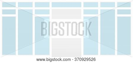 Empty Room White And Glass Panel In Front View, Modern Shop Room With And Glass Door, Interior Room