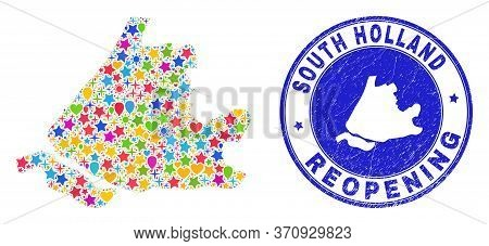 Celebrating South Holland Map Mosaic And Reopening Rubber Stamp. Vector Mosaic South Holland Map Is