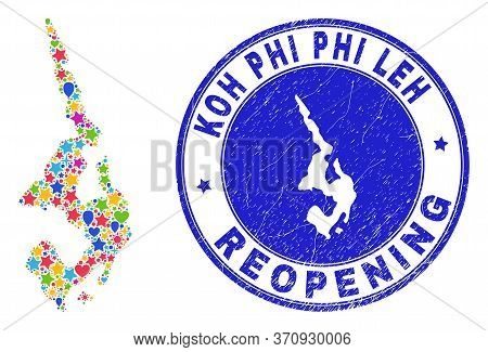 Celebrating Koh Phi Leh Map Collage And Reopening Rubber Stamp. Vector Collage Koh Phi Leh Map Is Do
