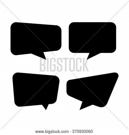 Speech Bubble Isolated On White, Speech Balloon Square Sign For Communication Symbol, Square Speech
