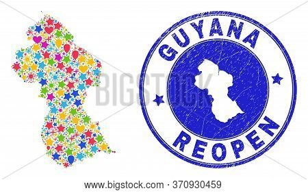 Celebrating Guyana Map Mosaic And Reopening Unclean Seal. Vector Mosaic Guyana Map Is Organized Of R