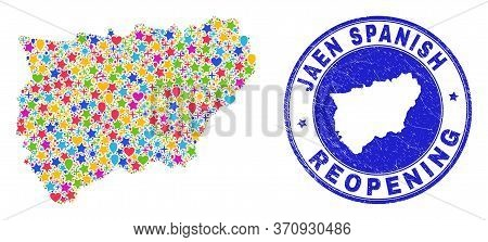 Celebrating Jaen Spanish Province Map Collage And Reopening Rubber Seal. Vector Collage Jaen Spanish