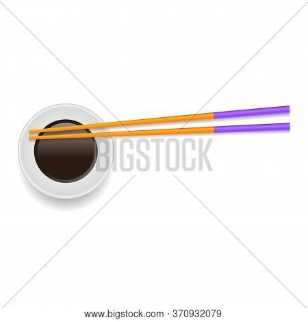 Soy Sauce And Traditional Colored Asian Chopsticks For Food On White Square Background.