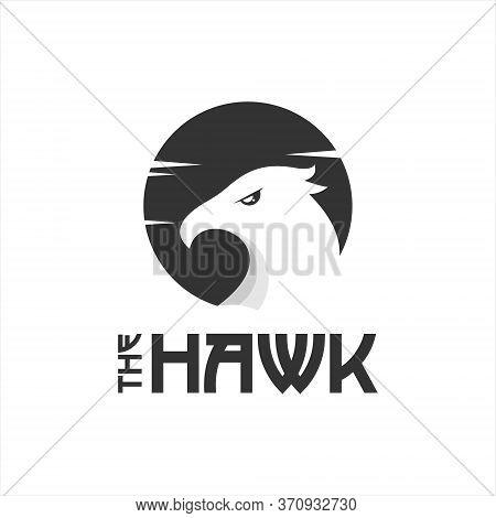Simple Predator Bird Hawk Head Vector. Animal And Nature Logo Design Template