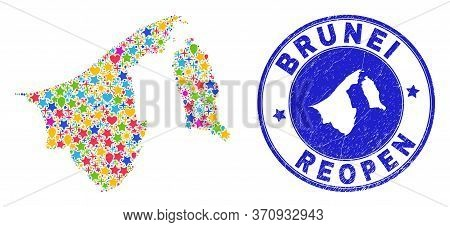 Celebrating Brunei Map Mosaic And Reopening Rubber Seal. Vector Collage Brunei Map Is Organized Of S