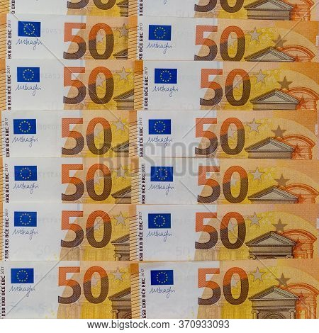 Banknotes Of 50 Fifty Euros Lie Exactly In Two Rows. European Currenc, Close-up. Blank For Design, B