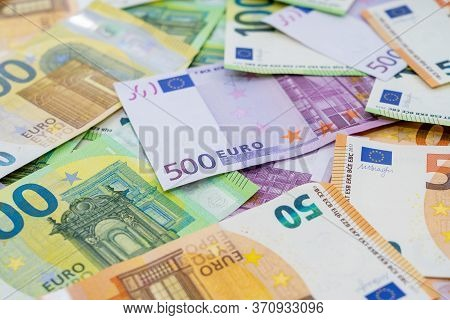 European Currency Lies On The Table. Banknote One Hundred, Two Hundred, Fifty, Five Hundred Euros Ar