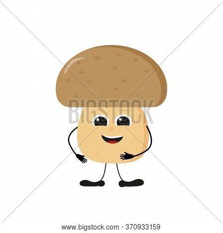 Cute Happy White Mushroom Characters. Vector Flat Illustration Isolated On Light Background. Cartoon