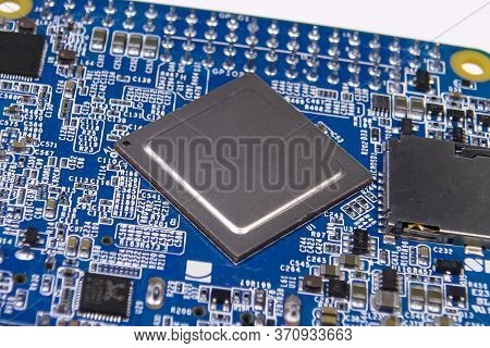 Pay A Mini Computer With A Processor And Interface Connectors. Miniature Computer Technology.