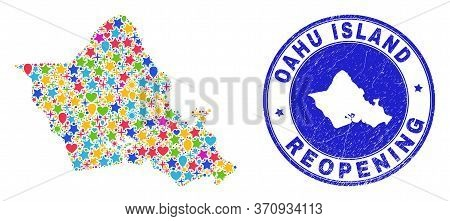Celebrating Oahu Island Map Collage And Reopening Rubber Stamp. Vector Collage Oahu Island Map Is Do