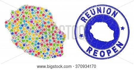 Celebrating Reunion Island Map Mosaic And Reopening Rubber Seal. Vector Mosaic Reunion Island Map Is