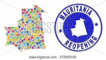 Celebrating Mauritania Map Mosaic And Reopening Unclean Seal. Vector Mosaic Mauritania Map Is Create